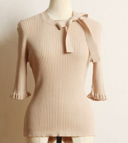 tocco closet 袖口フリル付きりぼん装飾シャリ感リブニットプルオーバー
