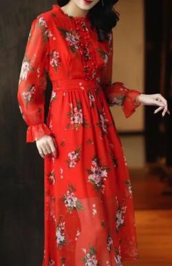 Amarphie 花柄プリント長袖ワンピース
