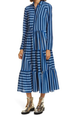 Akris Punto Square Stripe Print Silk Long Sleeve Maxi Dress