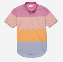 LACOSTE カラーブロックデザインショートスリーブボタンダウンシャツ