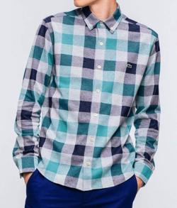 LACOSTE リネンコットンジャガードチェックシャツ