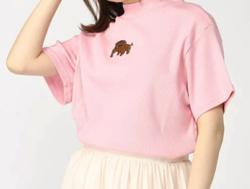PUNYUS ワンポイント刺繍リブハイネックTシャツ