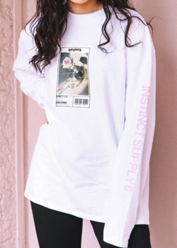 QUSSIO FLOWER PHOTO PRINT L/S TEE