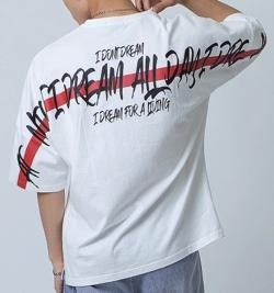 RE730 テーププリントドルマンtシャツ