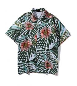 beautifulhalo ハワイフラワーリーフプリントショートスリーブシャツ