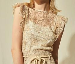 Lily Brown (リリーブラウン)刺繍レースノースリブラウス