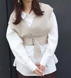 MURUA(ムルーア)ニットベストコンビシャツ