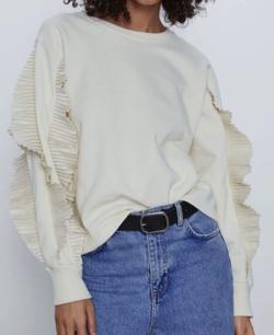 ZARA プリーツフリル付きスウェットシャツ