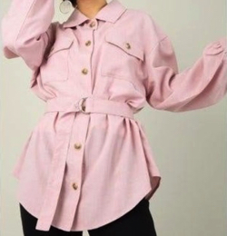CECIL McBEE (セシルマクビー)ベルト付きリネンライクCPOシャツ