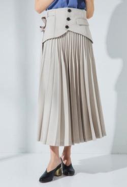 UNITED TOKYO 麻調コルセットプリーツスカート