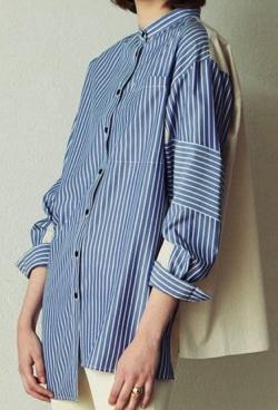 CAST: ストライプパターンコンビシャツ