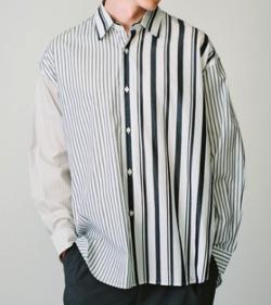 tk.TAKEO KIKUCHI クレイジーパターンストライプシャツ