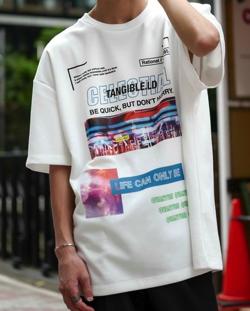 PLACE PLAN TCポンチジャージ / 全面プリント / バックプリント / ビッグシルエットTシャツ