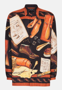 Dolce & Gabbana シャツ ハワイフィット シルク シューメーカープリント