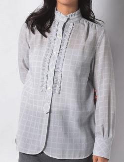 OLD ENGLAND ドットチェックフリルシャツ