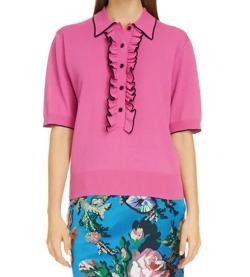 Dries Van Noten Jakele Ruffle Placket Sweater Pink