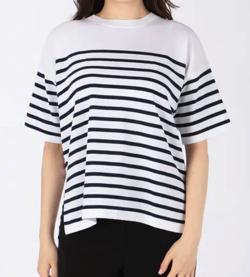 ENFOLD ウォッシャブルコットン ニットTシャツ