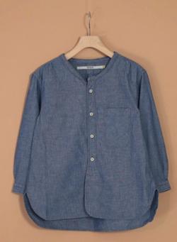 OMNIGOD シャンブレー 7分袖スタンドカラーシャツ