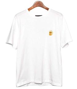 IN'CREWSIVE ワンポイント刺繍Tシャツ ホワイトファン