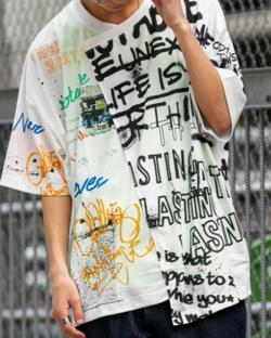 PLACE PLAN 総柄 / 全面プリント / アシンメトリー リメイク / ビッグシルエット Tシャツ