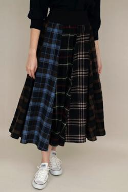 And Couture ネルチェックミックスロングスカート