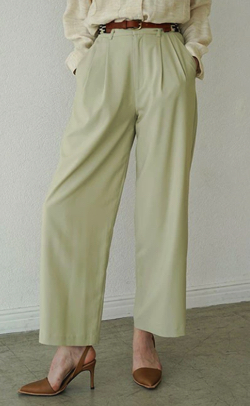 CLANE BASIC TUCK PANTS MINT