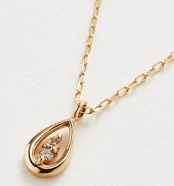 Marea rich K10YG ダイヤモチーフネックレスーTeardrop