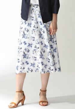 Honeys 釦使い花柄フレアスカート