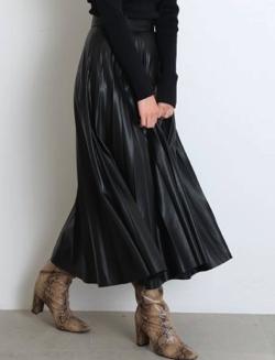 SNIDEL レザープリーツスカート