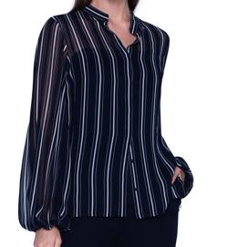 Akris / Striped Sheer Silk Button-Front Blouse