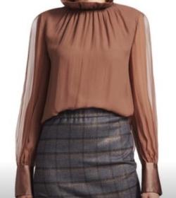 Brunello Cucinelli light brown silk blouse sz S