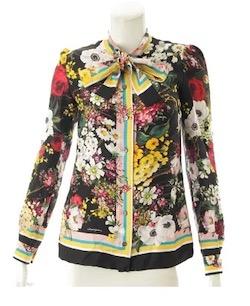 Dolce & Gabbana Floral Bouquet Silk Twill Tie-Neck Blouse