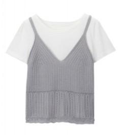 LILLIAN CARAT Tシャツ×ニットキャミセット
