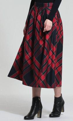 MACKINTOSH LONDON WOMEN トリプルチェックポリエステルスカート