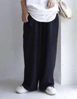 antiqua デザインポケットと絶妙タックの大人顔パンツ。ベルト付きワイドパンツ・pk-00533