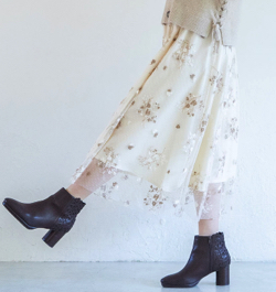 WILLSELECTION ドットチュール刺繍フレアスカート