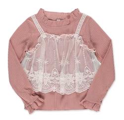 西松屋キッズ 刺繍チュールキャミソール付きTシャツ