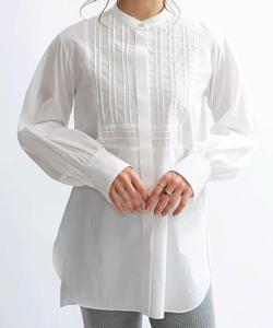 Mylanka スタンドカラードレスシャツ