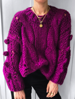 OSKER Treasure From The Sea Cable Knit Jumper w/ Pom Poms in Magenta