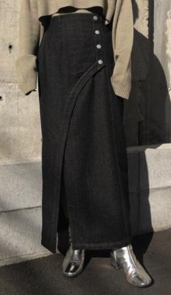&g'aime Front slit denim tight skirt