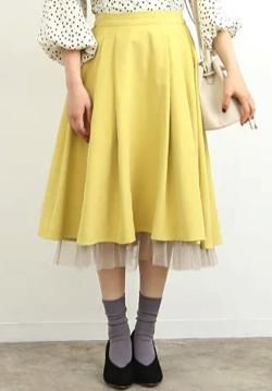 ROPE' PICNIC 裾チュール見えイレヘムスカート