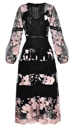 Antoinette ピンク ワンピース 可愛い 花柄 パーティー シースルー