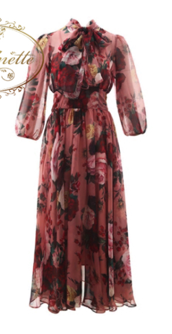 Antoinette Bow collar Rose Floral-Print Elegant Chiffon Dresses