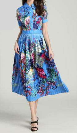 Antoinette ブルー花柄ロング丈ワンピース