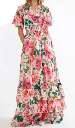 Antoinette V-neck Flare Sleeve Floral-Print Elasticated waist Cascading Ruffle Vacation Maxi Dresses