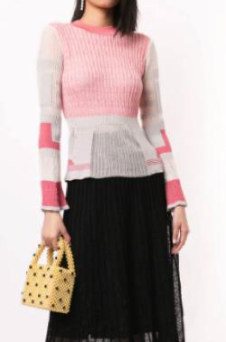 Mame Kurogouchi カラーブロック リブセーター