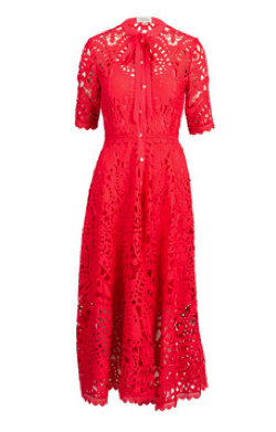 TEMPERLEY LONDON Berry Lace Necktie Dress
