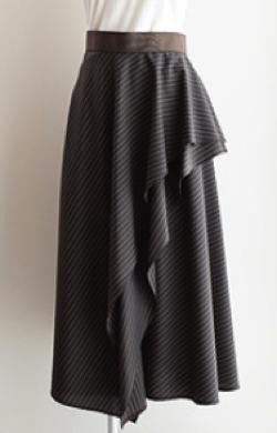support surface アシメトリーフリルフレアースカート
