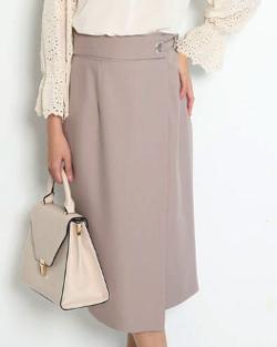JUSGLITTY 麻調サイドデザインタイトスカート