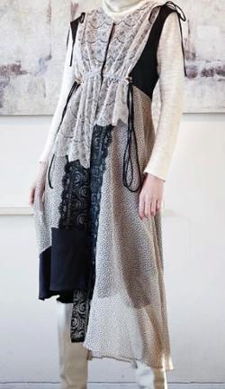 koll silk crepe layered dress